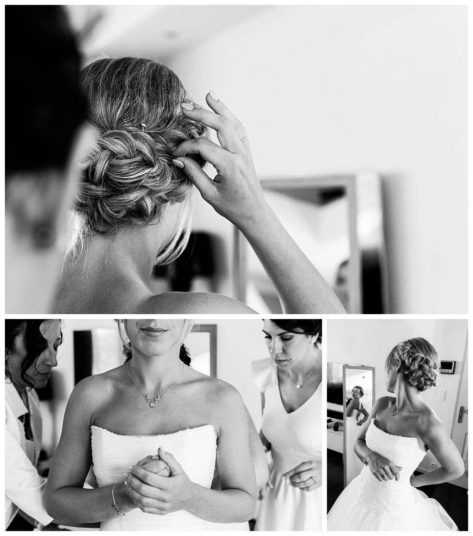 préparatifs de la mariée, passage de la robe de mariée