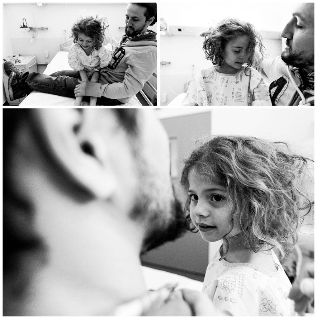 Audrey guyon, photographe professionnelle en Normandie, réalise un reportage photo à l'hôpital sur sa fille atteinte du syndrome de rett.