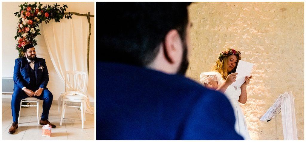 discours de la mariée lors d'une cérémonie laïque au colombier du manoir
