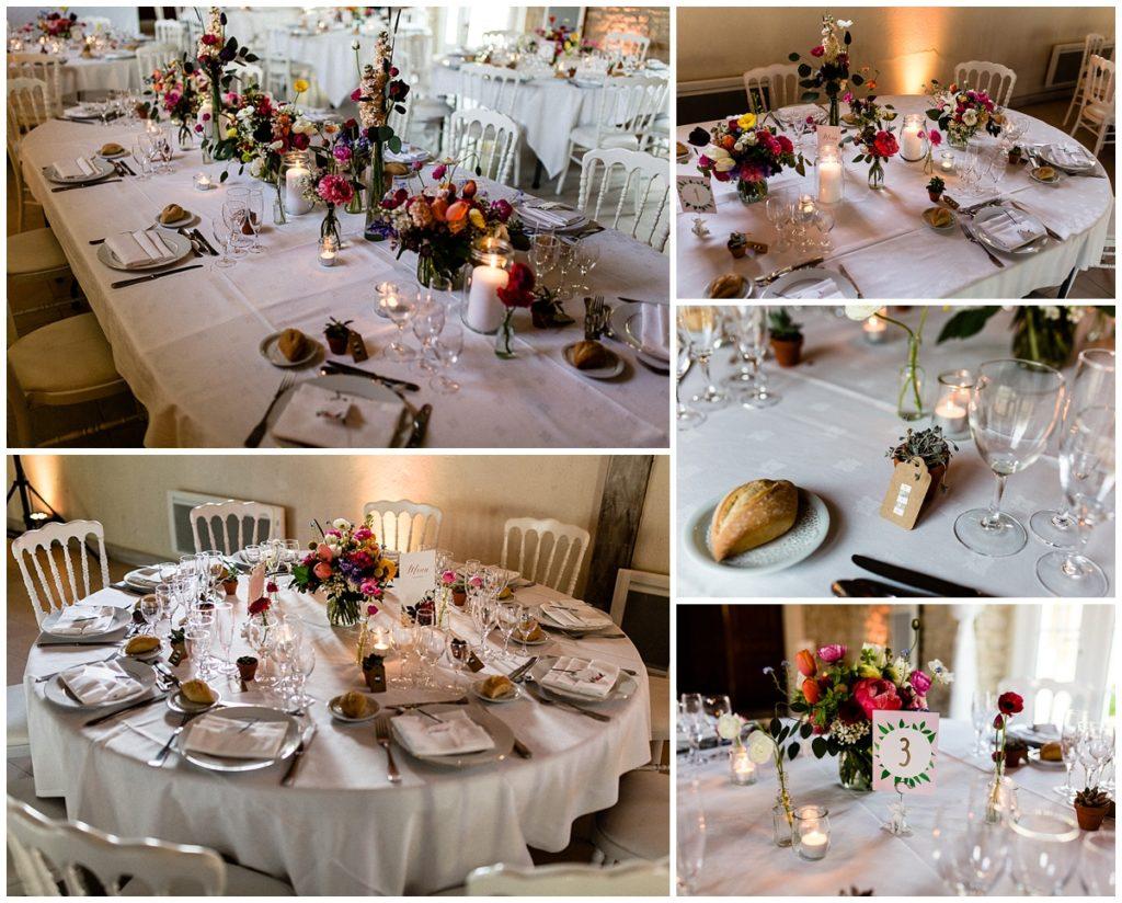 découvrez la décoration de table d'un mariage champêtre au colombier du manoir