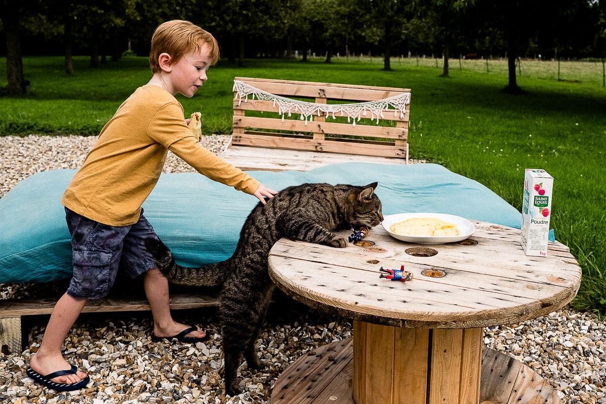 chat qui veut manger la crêpe de l'enfant