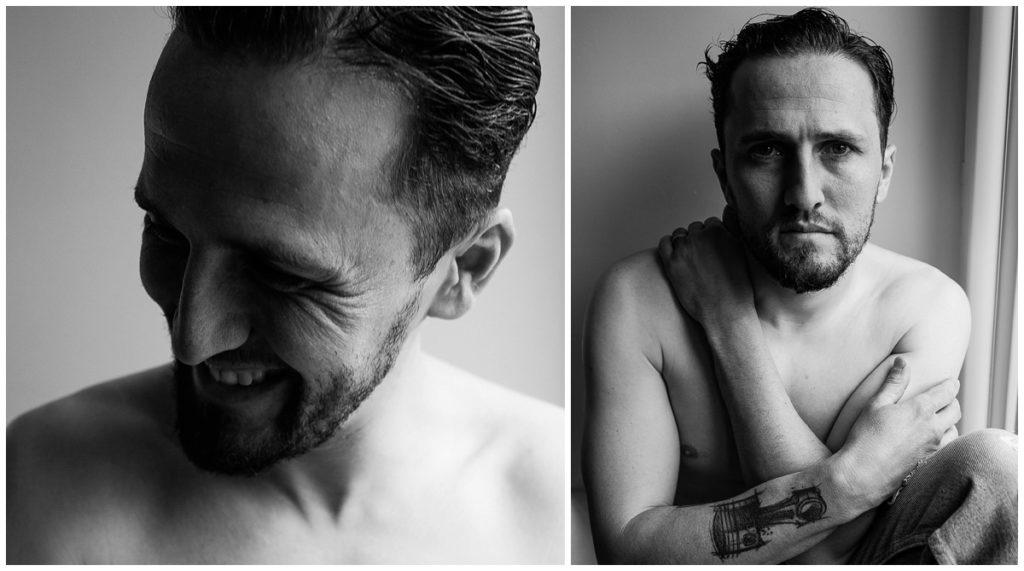 portraits d'homme en noir et blanc