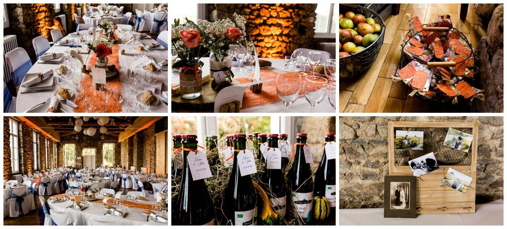 décoration tables et salle mariage d'automne domaine de la guérie, audrey guyon photographe mariage en normandie