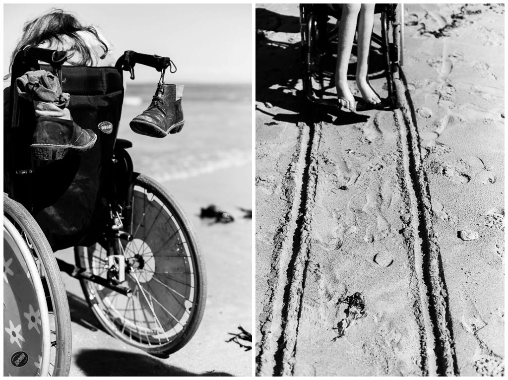 fauteuil roulant sur le sable, photographier le handicap