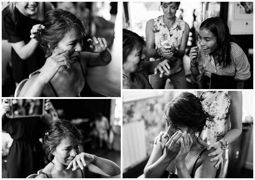émotions de la mariée lors de ses préparatifs au salon joakim coiffeur barbier près de caen, audrey guyon photographe mariage calvados